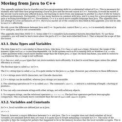 Moving from Java to C++