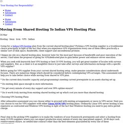Moving From Shared Hosting To Indian VPS Hosting Plan - matinadesouza