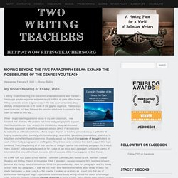 Moving Beyond the Five-Paragraph Essay: Expand the Possibilities of the Genres You Teach