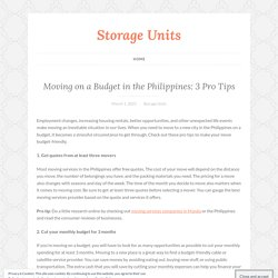 Moving on a Budget in the Philippines: 3 Pro Tips – Storage Units
