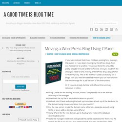 Moving a WordPress Blog Using CPanel