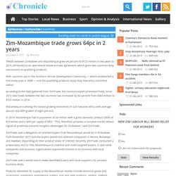 Zim-Mozambique trade grows 64pc in 2 years