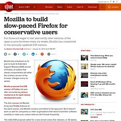 Mozilla to build slow-paced Firefox for conservative users