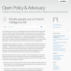speaks out on French intelligence bill
