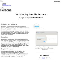 Persona — an identity system for the web — mozilla.org