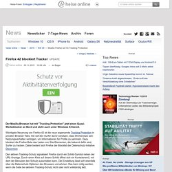 Mozilla Firefox 42 mit Tracking Protection