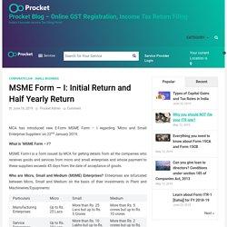 MSME Form - I: Initial Return and Half Yearly Return