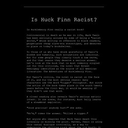huck finn racist or possibly not likely essay or dissertation definition