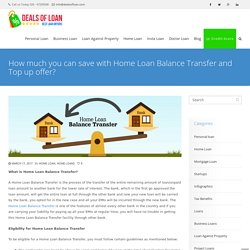 How much you can save with Home Loan Top up + Balance Transfer offer?