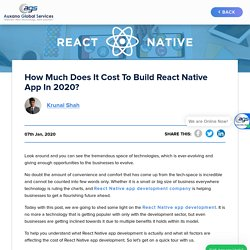How Much Does It Cost To Build React Native App in 2020?