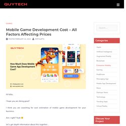 How Much Does Mobile Game App Development Cost?