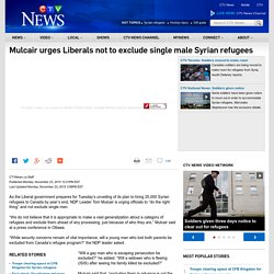 Mulcair urges Liberals not to exclude single male Syrian refugees