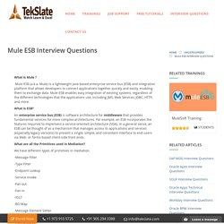 Mule ESB Interview Questions