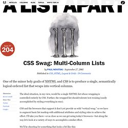 CSS Swag: Multi-Column Lists