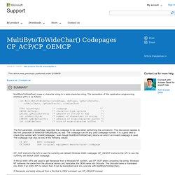 Pages de codes de MultiByteToWideChar() CP_ACP/CP_OEMCP