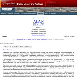 ALAN v23n1 - At Home with Multicultural Adolescent Literature