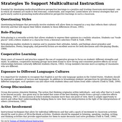 Strategies To Support Multicultural Instruction