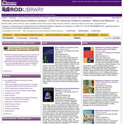 For Teachers - Diverse and Multicultural Children's Literature - LITED 3121 Advanced Children's Literature - Watson and Meachum - LibGuides at University of Northern Iowa