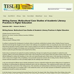 Writing Games: Multicultural Case Studies of Academic Literacy Practices in Higher Education