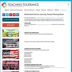 Multicultural Service-Learning: Teacher Planning Sheet