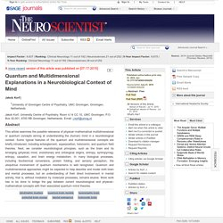 Quantum and Multidimensional Explanations in a Neurobiological Context of Mind