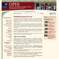 OPHI's Alkire Foster Method for Measuring Multidimensional Poverty