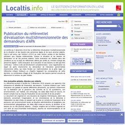 Publication du référentiel d'évaluation multidimensionnelle des demandeurs d'APA - 14/12/16