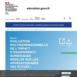 Évaluation multidimensionnelle de l'impact d'équipements numériques mobiles sur les apprentissages des élèves : premiers résultats des effets du Plan numérique de 2015