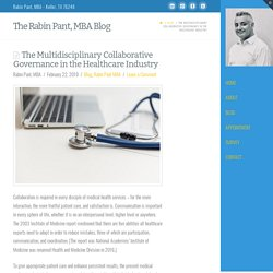 The Multidisciplinary Collaborative Governance in the Healthcare Industry