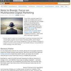 Note to Brands: Focus on Multifaceted Digital Marketing
