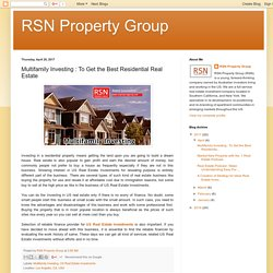 Get Tips for US Multifamily Property by Reed Goossens