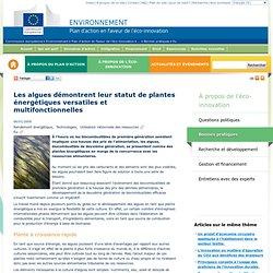 Les algues démontrent leur statut de plantes énergétiques versatiles et multifonctionnelles - Plan d'action en faveur de l'éco-innovation