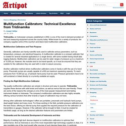 Multifunction Calibrators: Technical Excellence from Tridinamika