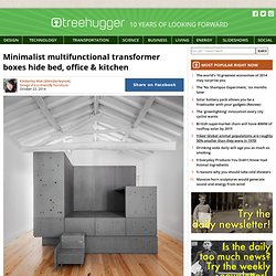 Minimalist multifunctional transformer boxes hide bed, office & kitchen