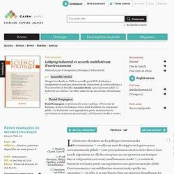 CAIRN - 2011 - Lobbying industriel et accords multilatéraux d'environnement