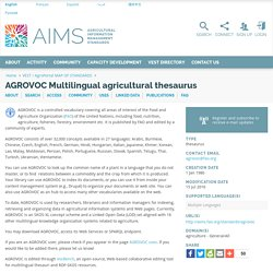 AGROVOC Multilingual agricultural thesaurus