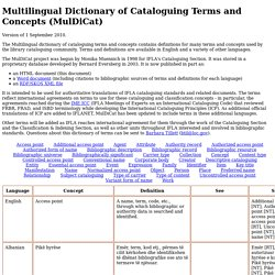 Multilingual Dictionary of Cataloguing Terms and Concepts (MulDiCat)