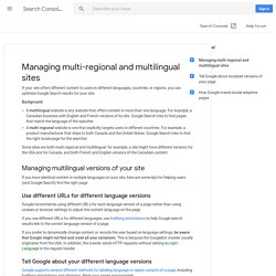 Multi-regional and multilingual sites - Webmaster Tools Help