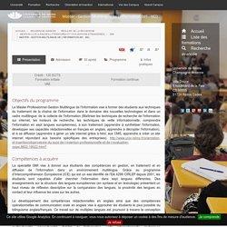 Master - Gestion Multilingue de l'information (M1 - M2) - Formation de l'Université de Reims Champagne-Ardenne