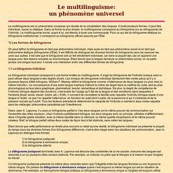 Le multilinguisme comme phénomène universel