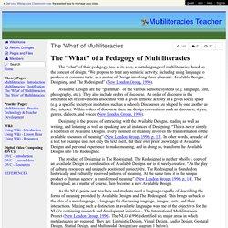 Multiliteracies Teacher - The 'What' of Multiliteracies