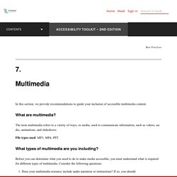 Multimedia – Accessibility Toolkit – 2nd Edition