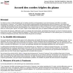 Eric Marandas, René Caussé, Vincent Gibiat (ESPCI): Accord des cordes triples du piano (ISMA 95, Dourdan 1995). <!