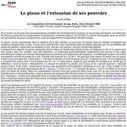 Claude Helffer: le piano et l'extension de ses pouvoirs<!