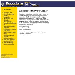 Marvin's Corner - Multimedia Package Design and Prepress
