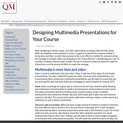Designing Multimedia Presentations for Your Course