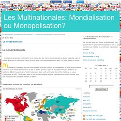 Le monde Mcdonalds - Les Multinationales: Mondialisation ou Monopolisation?