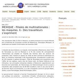 MEXIQUE - Filiales de multinationales : les maquilas. II.- Des travailleurs (...) - AlterInfos - DIAL