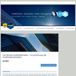 Les firmes multinationales – Le processus de multinationalisation