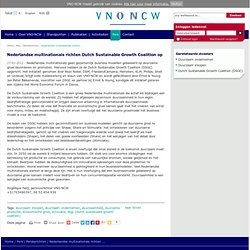 Nederlandse multinationals richten Dutch Sustainable Growth Coalition op - Persberichten VNO-NCW Online